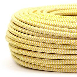 Textilkabel Stoffkabel gelb-weiß Zick Zack Muster 3-adrig 3x0,75 Gummischlauchleitung 3G 0,75 H03VV-F textilummantelt