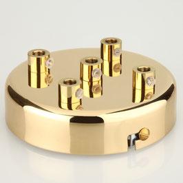 Lampen Metall Baldachin 100x25mm vermessingt für 5 Lampenpendel mit Zugentlaster aus Metall