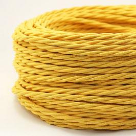 Textilkabel Stoffkabel gelb 3-adrig 3x0,75 gedreht verseilt einzeln umflochten
