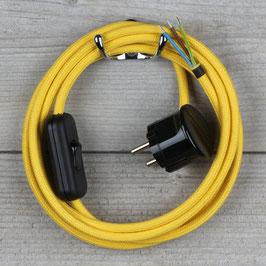 Textilkabel Anschlussleitung 2-5m gelb mit Schalter u. Schutzkontakt Winkelstecker