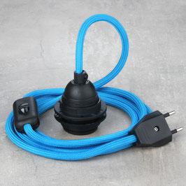 Textilkabel Leuchtenpendel E27 Kunststoff Fassung mit Schalter und Euro-Flachstecker