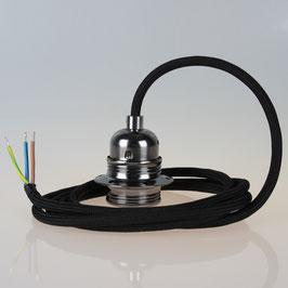 Textilkabel Pendelleitung schwarz mit E27 Fassung Metall schwarz-chrom und 2 Schraubringe