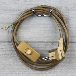 Lampen Anschlussleitung gold 2 Meter 3-adrig mit Schnurschalter Zwischenschalter und zwei Erdleitersystem Stecker
