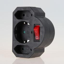 Steckdosen-Adapter schwarz mit Schalter 16A/250V 2 x Eurosteckdose 1 x Schutzkontakt-Steckdose