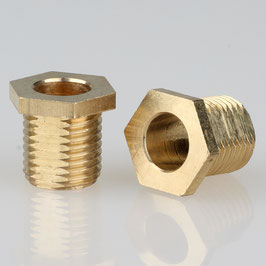 6 Kant Trompeten-Nippel 12x12 Messing M10x1x10 mit Verdrehschutz