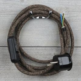 Textilkabel Anschlussleitung 2-5m braun meliert mit Schalter u. Schutzkontakt Winkelstecker