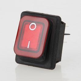 Wippschalter beleuchtet 2-polig 30x22 mm 250V/16A IP65
