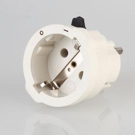 Schutzkontakt Zwischenstecker mit 2 poligen Schiebeschalter weiß