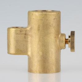 Lampen Messing Guss T-Verschieber 25x46,5x44,5mm mit Rändelschraube 16x15mm