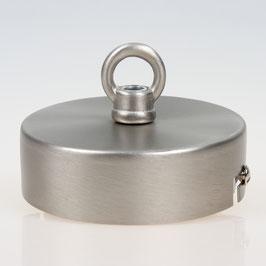 Lampen Baldachin 80x25 Metall edelstahloptik mit Ringnippel 22mm fuer Kettenaufhaengung
