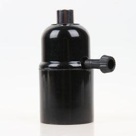E27 Bakelit Fassung mit Drehschalter Zugentlaster Metall verchromt