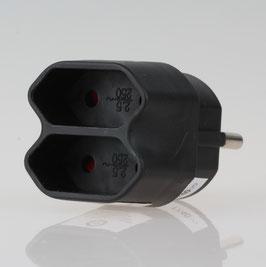 Steckdosen Adapter Schutzkontaktstecker- Adapter, schwarz mit 2 Eurosteckdosen