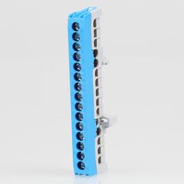 Neutralleiter-Klemme Verteilerklemme blau 15-polig für Hutschiene