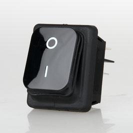 Wippschalter schwarz 2-polig 30x22 mm 250V/16A IP65