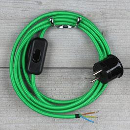Textilkabel Anschlussleitung 2-5m grün mit Schalter u. Schutzkontakt Winkelstecker