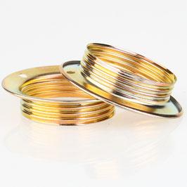 2x E27 Unterring Schraubring Metall vermessingt 56x13 mm für Metallfassung