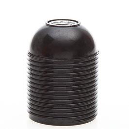 E27 Bakelit Fassung schwarz mit Außengewinde / Gewindemantel / M10x1
