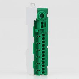 Erdleiter-Klemme Verteilerklemme PE-Klemme PE14-S grün 12-polig für Hutschiene