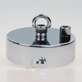 2 Loch Lampen Baldachin 80x25 Metall verchromt mit Ringnippel 22mm fuer Kettenaufhaengung