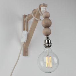 Textilkabel Galgen-Lampe mit Holzkugeln Buche Natur E27 Vintage Fassung ohne Leuchtmittel