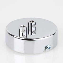 Lampen Metall Baldachin 80x25mm verchromt für 2 Lampenpendel mit Zugentlaster aus Metall verchromt