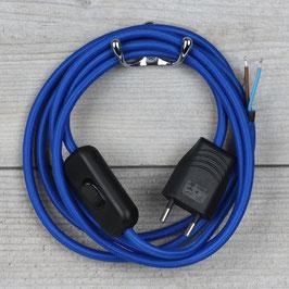 Textilkabel Anschlussleitung 2-5m dunkel-blau mit Schalter und Euro-Flachstecker