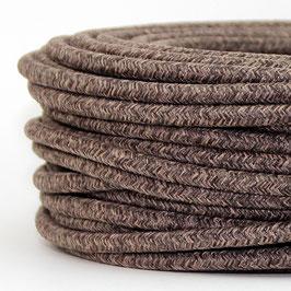 Textilkabel Stoffkabel braun meliert 3-adrig 3x0,75 Schlauchleitung 3G 0,75 H03VV-F