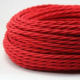 Textilkabel Stoffkabel rot 2-adrig 2x0,75 gedreht verseilt einzeln umflochten