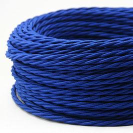 Textilkabel Stoffkabel dunkelblau 3-adrig 3x0,75 gedreht verseilt einzeln umflochten