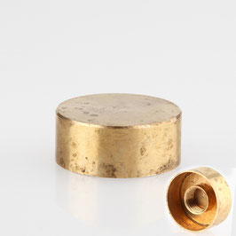 Lampen Abschlussknopf Deckelknopf M10x1 Innengewinde 25x10 mm Messing roh