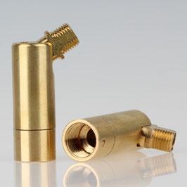 Lampen Dreh-Kippgelenk Messing roh M13x1 IG auf M10x1 AG 16x56mm