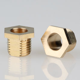 6 Kant Trompeten-Nippel 12x10 Messing M10x1x8 mit Verdrehschutz