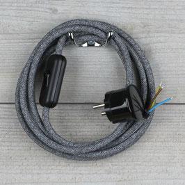 Textilkabel Anschlussleitung 2-5m steingrau mit Schalter u. Schutzkontakt Winkelstecker