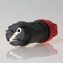 PCE Schutzkontakt Gummi-Stecker schwarz/rot 250V/16A IP44 Kema Keur