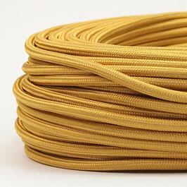 Textilkabel Stoffkabel gold 3-adrig 3x0,75 Schlauchleitung 3G 0,75 H03VV-F