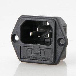 Kaltgeräte Einbaustecker schwarz 250V/10A mit Sicherungshalter