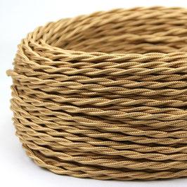 Textilkabel Stoffkabel gold 2-adrig 2x0,75 gedreht verseilt einzeln umflochten