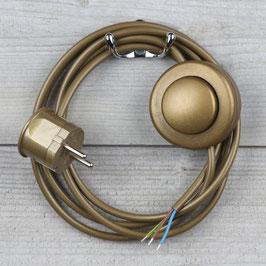 Lampen Anschlussleitung gold 2-5m mit Fußschalter und Schutzkontakt-Stecker