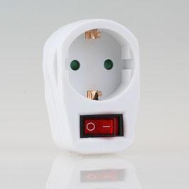 Steckdosen-Adapter mit Schalter 16A/250V weiß  1 x Schutzkontakt-Steckdose