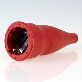PVC Schutzkontakt-Kupplung Gummikupplung rot 250V/16A spritzwassergeschützt IP44