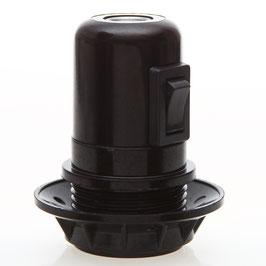E27 Bakelit Fassung Teilgewindemantel schwarz mit Kippschalter 2A/250V