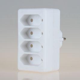 Steckdosen-Adapter weiß 2,5A/250V 4 x Eurosteckdose