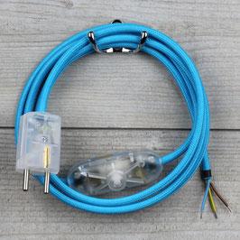 Textilkabel Anschlussleitung 2-5m hell-blau mit Schalter u. Schutzkontakt Winkelstecker