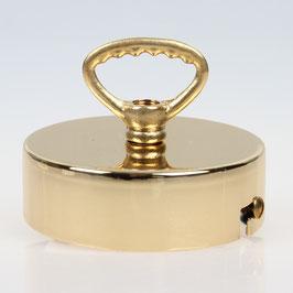 Lampen Baldachin 80x25 Metall Messing poliert mit Zahn-Ringnippel 42mm fuer Kettenaufhaengung