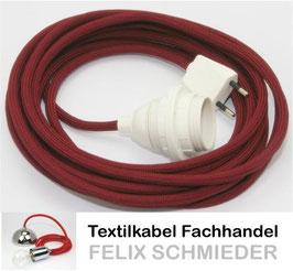 Textilkabel Leuchtenpendel bordeaux mit E27 Kunststoff-Fassung weiß mit Außengewinde und Euro-Flachstecker weiß