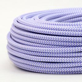 Textilkabel Stoffkabel lila-weiß Zick Zack Muster 3-adrig 3x0,75 Gummischlauchleitung 3G 0,75 H03VV-F textilummantelt