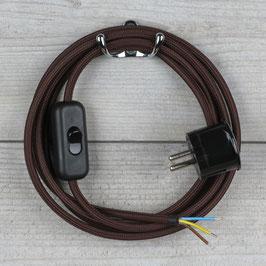 Textilkabel Anschlussleitung 1,8m braun mit Schalter u. Schutzkontakt Winkelstecker