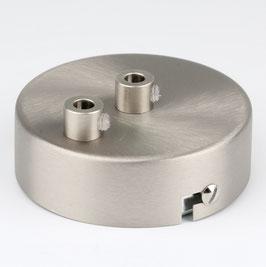 Lampen Metall Baldachin 80x25mm edelstahloptik für 2 Lampenpendel mit Zugentlaster
