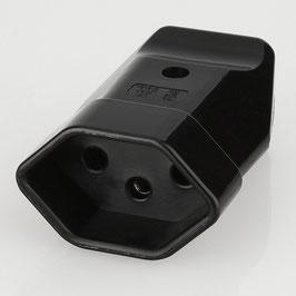 Lampen Schutzkontakt-Kupplung schwarz für die Schweiz 3-polig 10A/250V