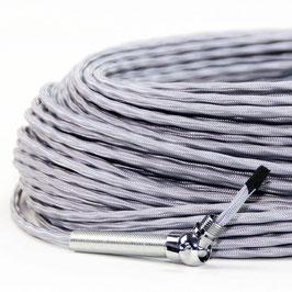 Textilkabel-Stoffkabel silber 3-adrig 3x0,75 extra dünn